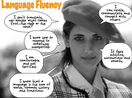 Giant beret is not a symbol of fluency
