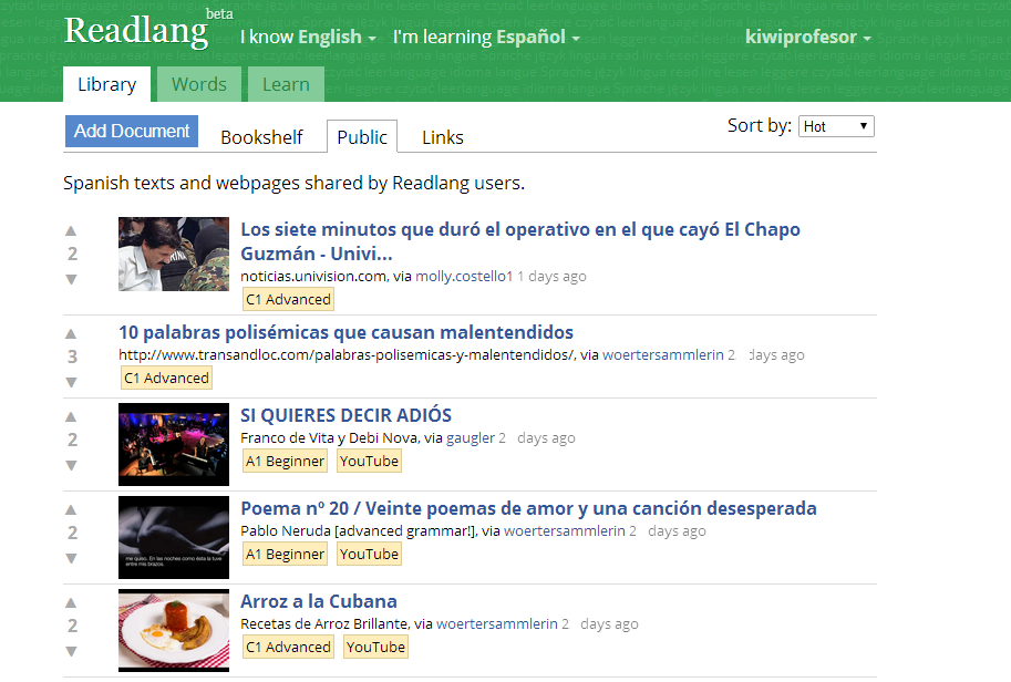 A screenshot of Readlang for Spanish Learners