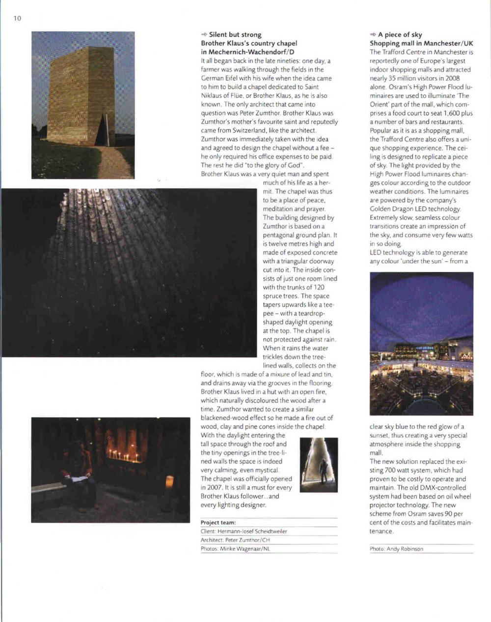 Gepubliceerd in Professional Lighting Design, no. 67 juli/aug 2009, p. 10