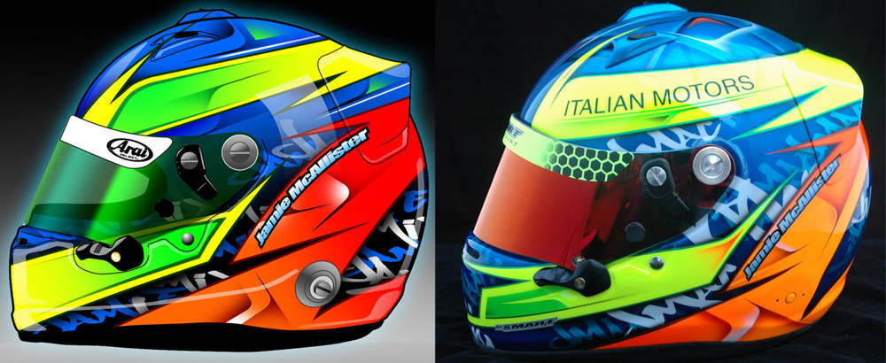 Helmet for Jamie McAllister. Computer rendering on the left, the real helmet on the right.