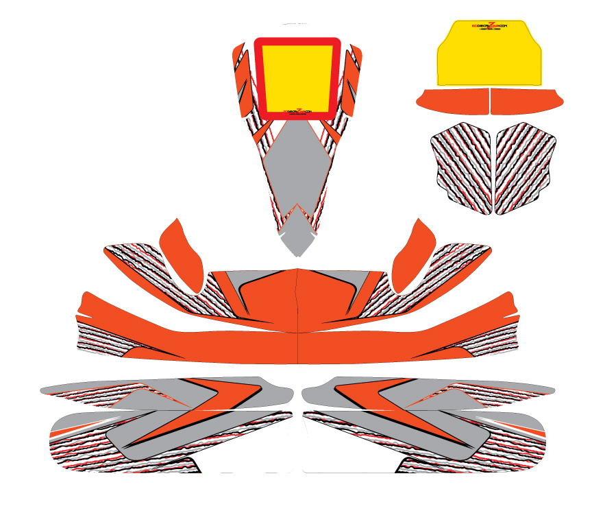 This design for the bodywork of a kart was produce following to rules from the customer. It had to reflect both Tony-Kart chassis and the customer's own helmet colors.