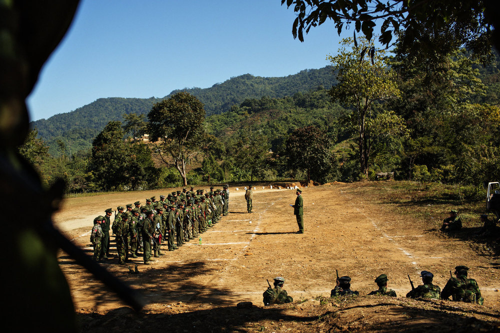 Non-commissioned officers from village militias who have been trained by the Kachin Independence Army (KIA) are being sent off after the end of their training.