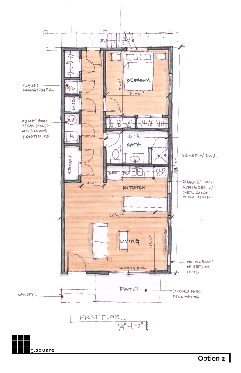 Option 2 | Typical Shotgun Unit Floor Plan