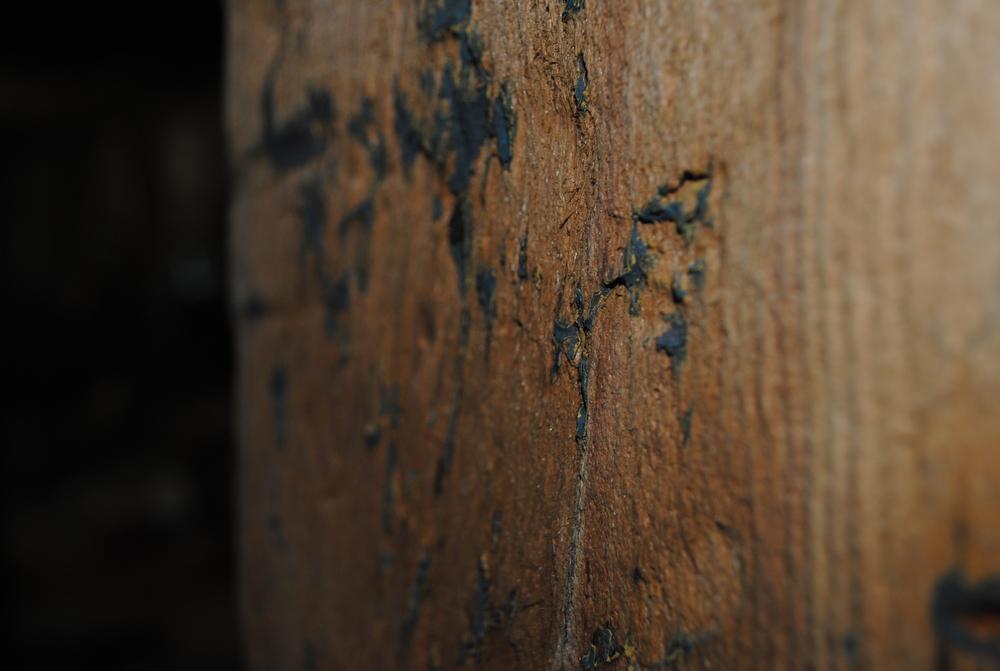 Coal Slag Media Blasting (paint on wood)