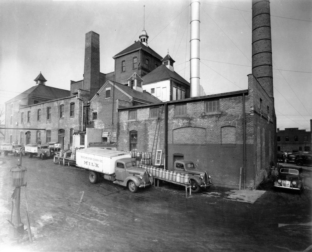 Schuster Brewery with rear facade of Conley-Maass on the far right