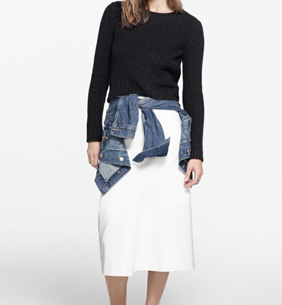 black sweater, white skirt, denim jacket.png
