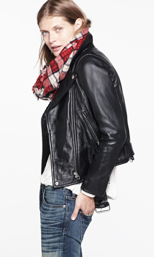 Madewell outfit - leather jacket and plaid scarf.png