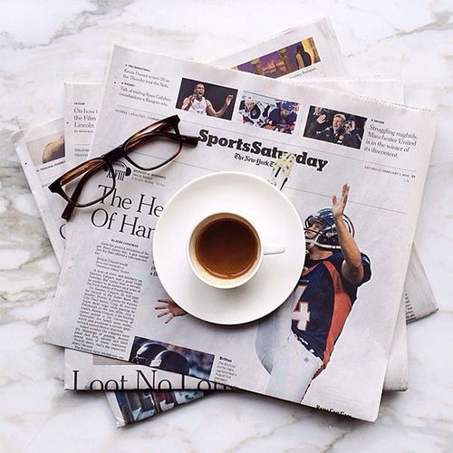coffee and the Sunday paper ( source )