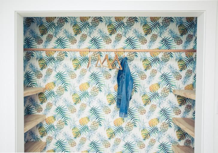 wallpaper print inside closet