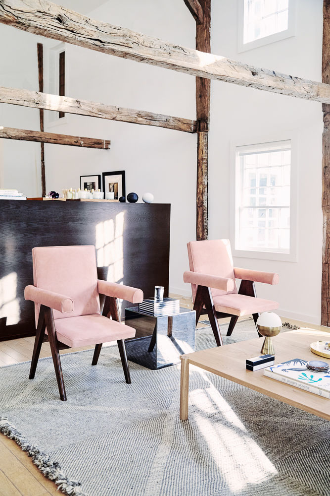 pink chairs - living room
