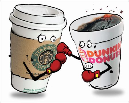 Starbucks vs Dunkin Donuts. Not sure where this came from so I can't credit artist. :(