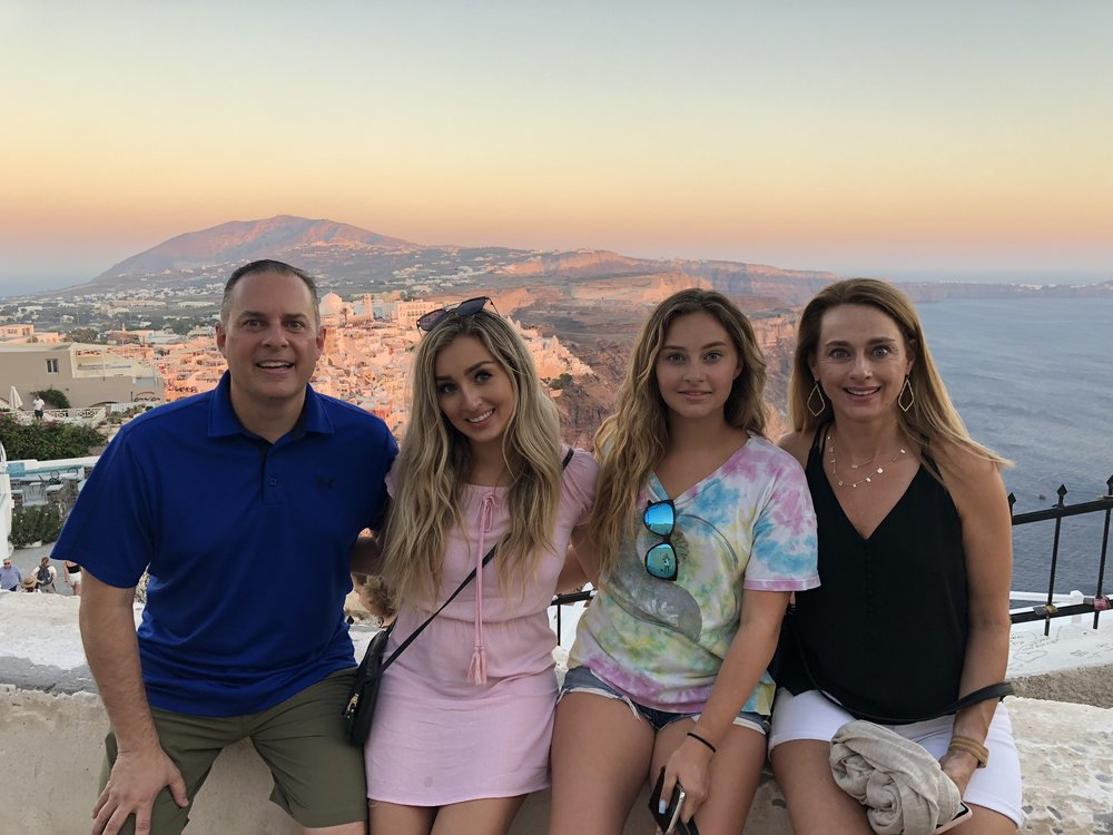 Harold, Gabrielle, Isabel and Jennifer Valderas  Santorini Greece - July 2018