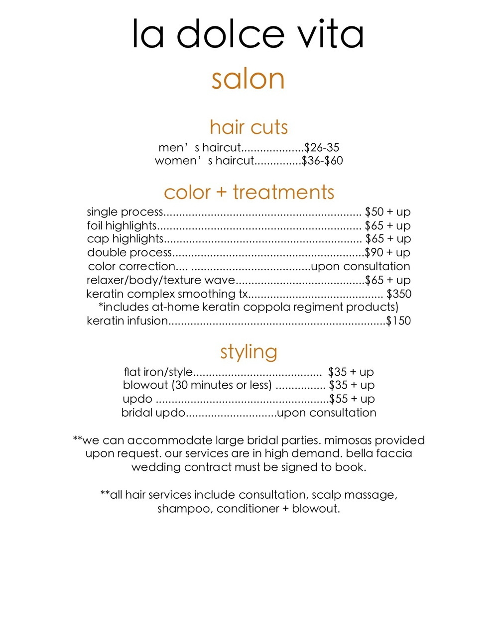 Salon menu la dolce vita salon spa for 3 fifty eight salon