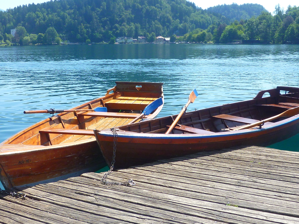 Traditional rowing boats on Lake Bled