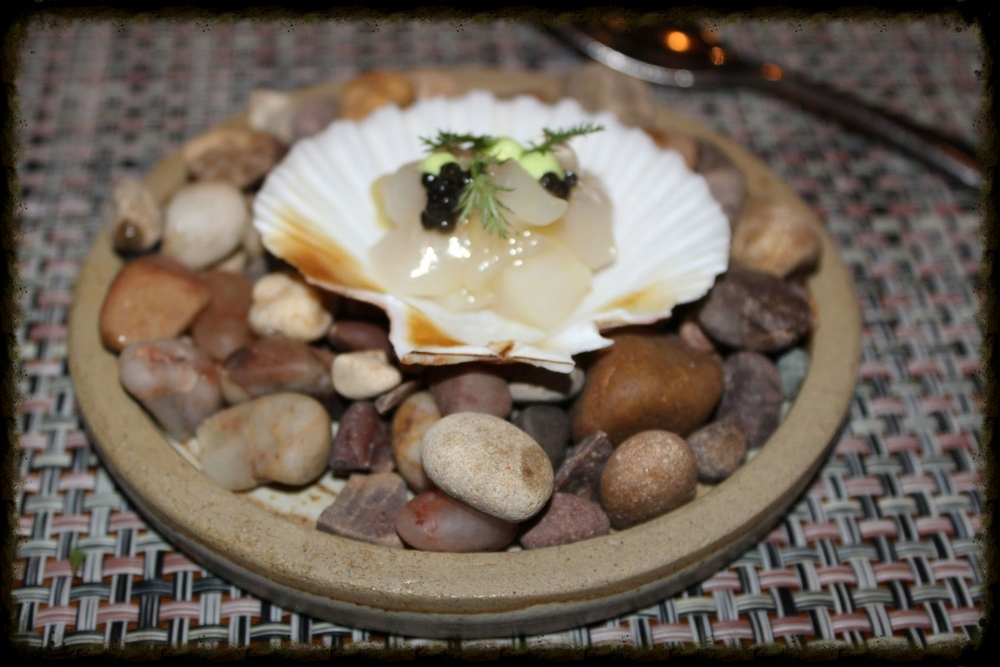 Raw scallop & caviar