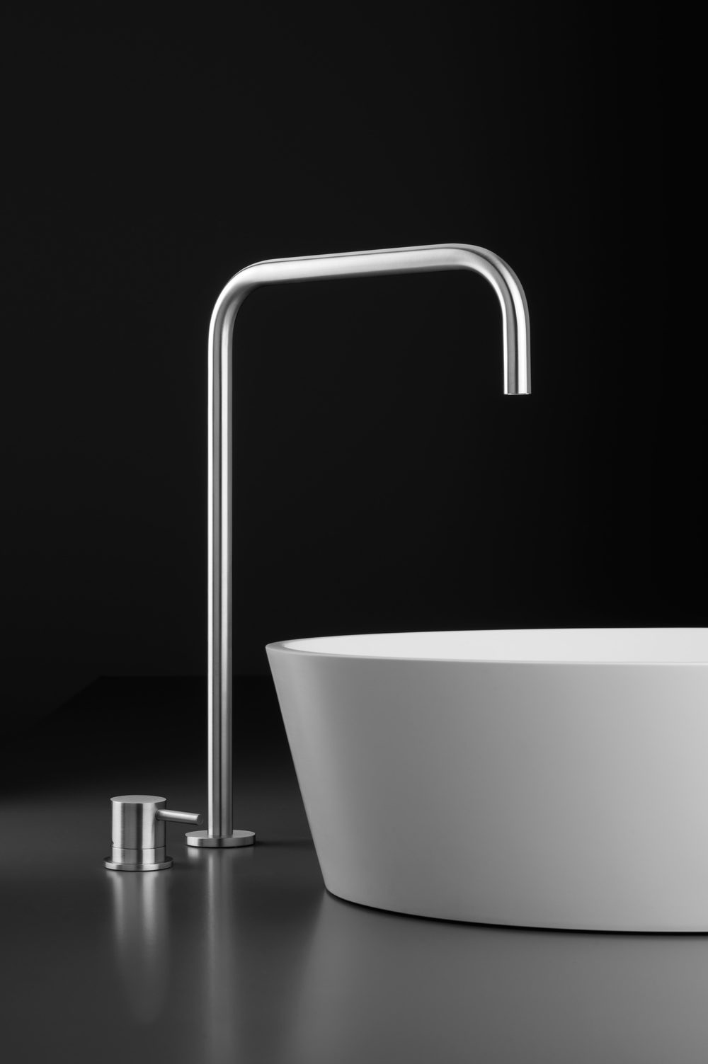 INOX Deck-Mount Basin Spout, Courtesy Blu Bathworks