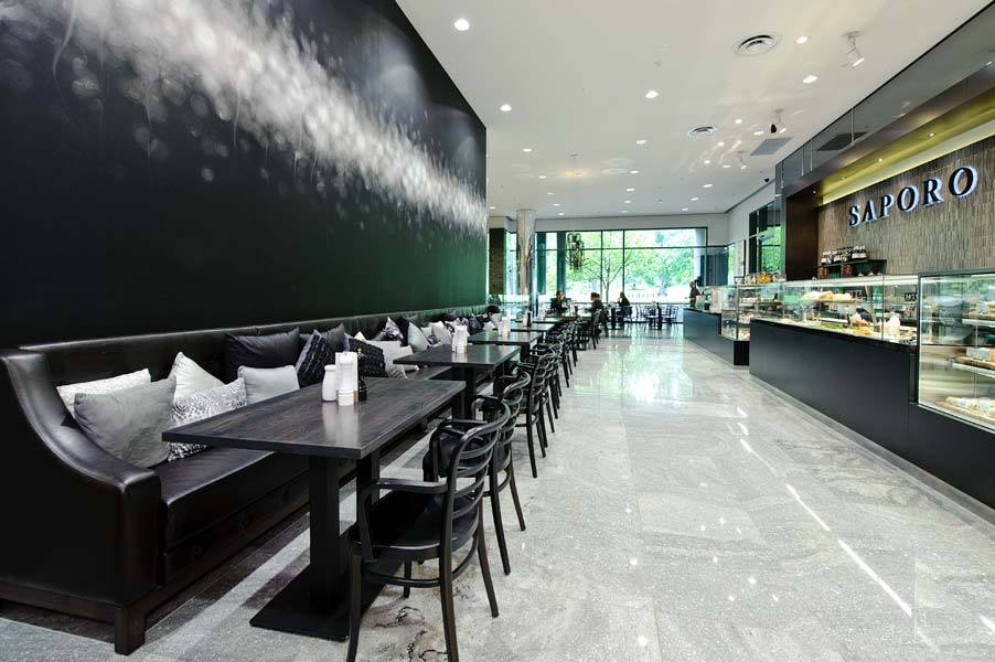 Café Saporo in Melbourne Australia features Trove's Auva wallcovering.  Courtesy Trove