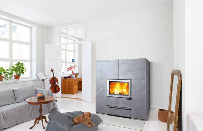 Sonka Soapstone Fireplace by Tulikivi.  Courtesy Tulikivi