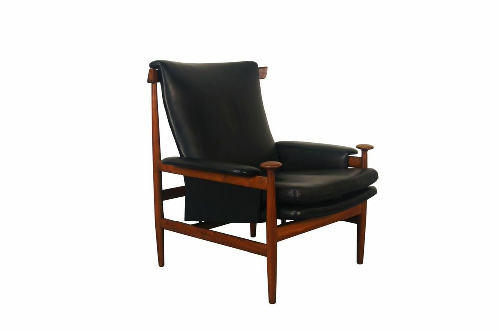 Black Leather Bwana Chair by Finn Juhl for France & Son from Danish Modern NoHo; Courtesy Period Media