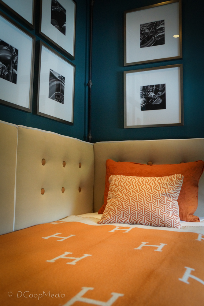 Hermes graces the bed in the Young Man's Suite by Nancy Del Santo for Concept Builders