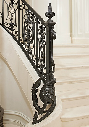 Forged iron newel and rail by Gold Coast MetalWorks | Ralph Lauren Flagship Store, New York, NY | Photo courtesy Gold Coast Metal Works