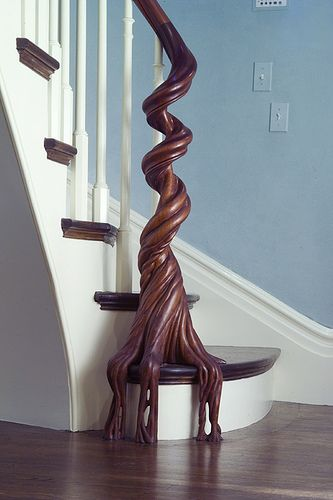 Newel & rail carved by North Road Woodshop // © northroad woodshop