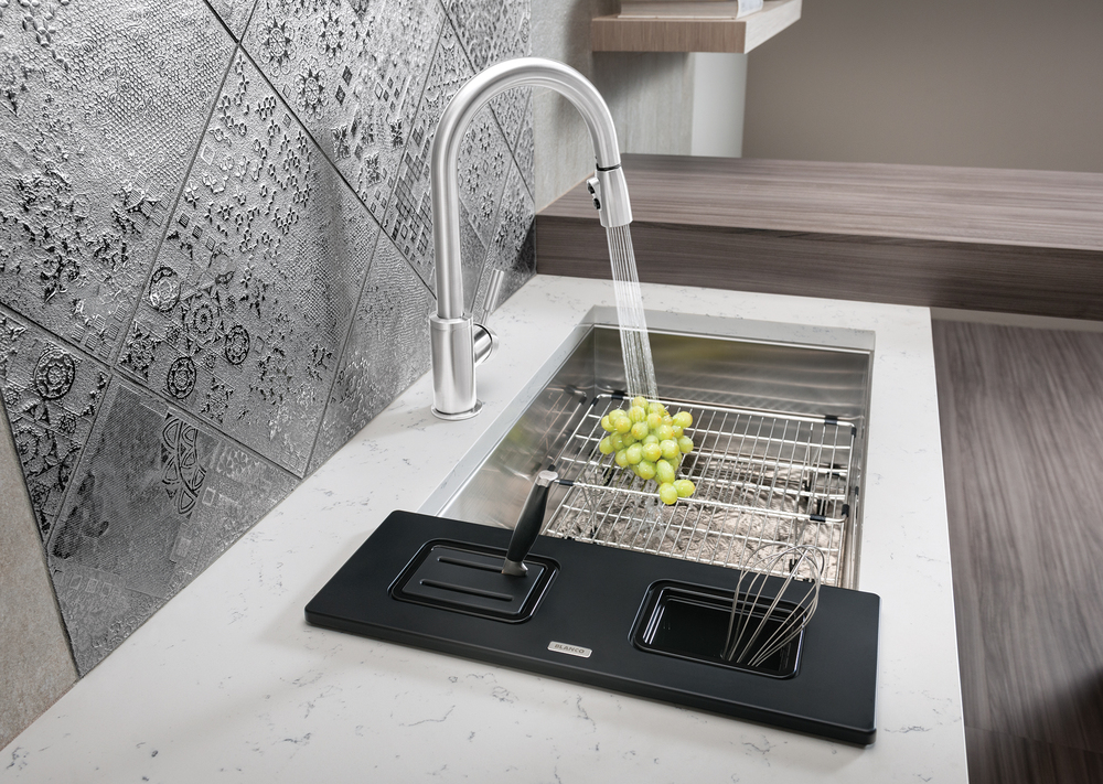 Workstation and Multi-Level Stainless Steel Grid for BLANCO QUARTUS Sink | Photo courtesy BLANCO