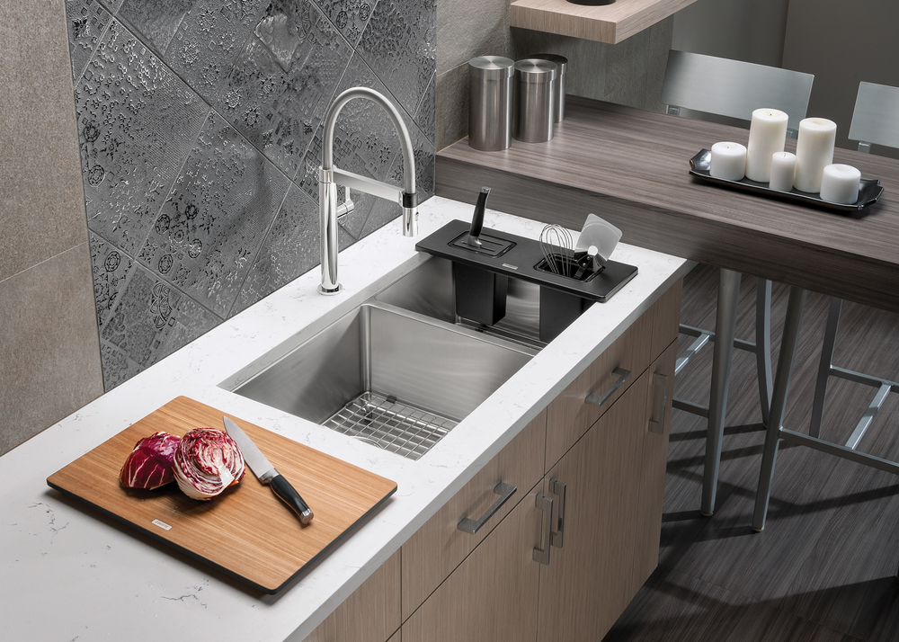Ash Compound Cutting Board and Workstation for BLANCO QUARTUS Sink | Photo courtesy BLANCO