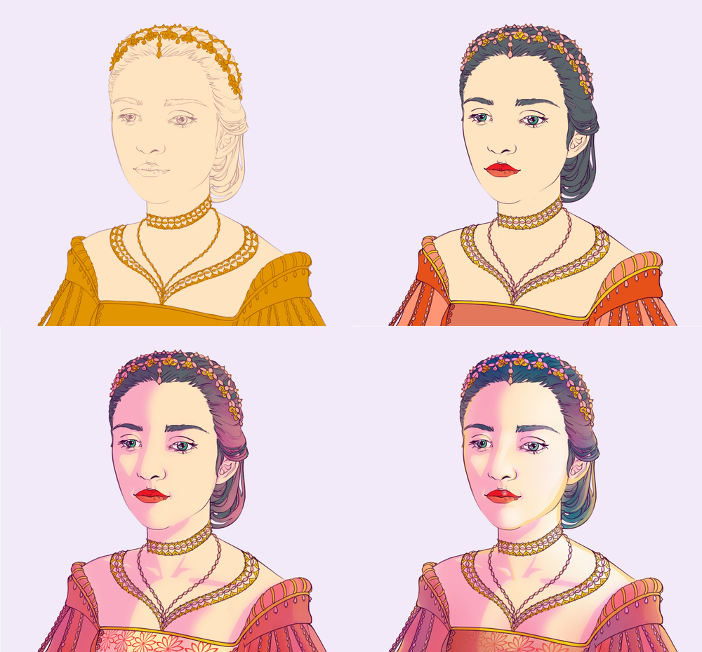 Color process of the bust.
