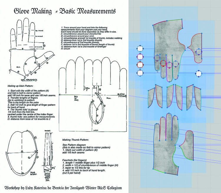 An actual glove pattern versus one of my MD patterns. Depending on the kind of glove being built, different patterns may be used.