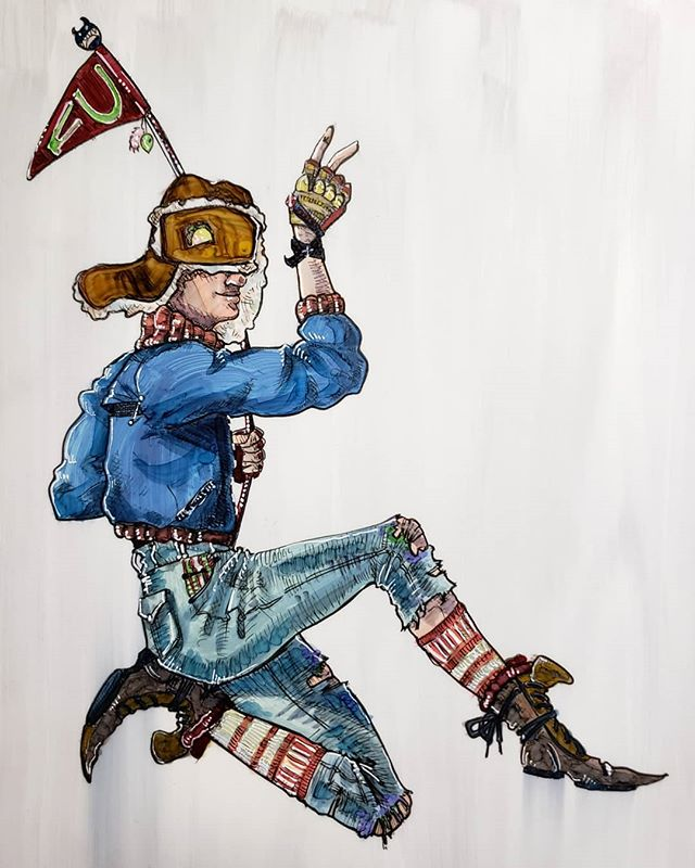 Acrylic and copic on duralar. This illustration was just a test, but I really love the process so far. I'm thinking about putting these originals up on Etsy. What do you think? . . . . #illo #characterdesign #canadian #tankgirl #tubesocks #duralar #acrylicart #copicart #fu #tacohat #designsketching #character #multimedia #artistofig #stripesfashion #bombergirl #nonbinaryart #acrylicwash