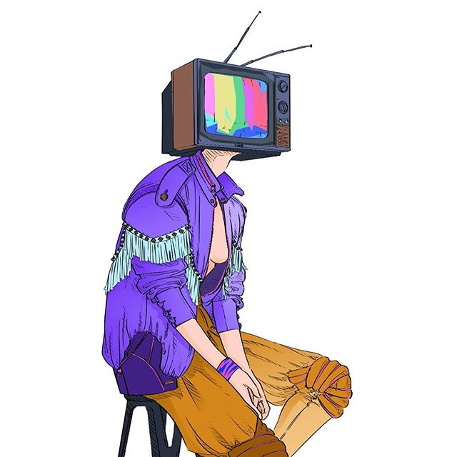 📺 TVHead for #TalkingThreads . . . . #illo #fashionillustration #costumedesigner #80sfashion #80saesthetic #tvhead #mchammerpants #pleatherjacket #synthwave #artistofig #costumedesign #characterart #neonzebra