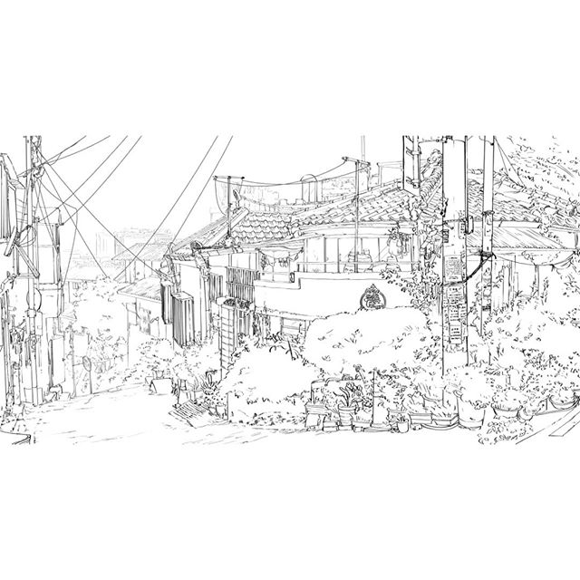 Architecture - for when I get nostalgic for that grade school blue book hand cramp 👋☠️ Swipe for panorama view~  Would you believe me if I said this is an illustration for the costume design #TalkingThreads book we're finishing up? Whodda thunk I'd have to do a perspective drawing for a costume design book.  The Old City Wall, a Neighborhood, Korea. . . . . . #illo #environmentdesign #koreaillustration #artistofig #seoulcitywall #한양도성 #그림그리기 #koreanart #lineartdrawing #comicbookart #swiperight #inktober2018 #animebackground #architectureart #만화그림 #neighborhood #whinsical #adventurous #springtime🌸 #gardenart
