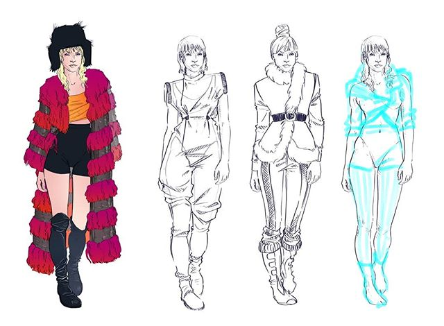 Thank you to everyone that came out for our #TalkingThreads panel at @ctnexpo! I got to power through a few quick sketches based on the Blade Runner IP and share my research and sketching process while Jessie Kate Bui and Beki Black-Glicko talked costume~ Here is the result of our mad-dash 40 minute demo! . . . . . #costumedesign #costumeconceptart #illo #bladerunner #bladerunner2049 #mariette #80sfashion #40sfashion #furcoat #streetwalker #posh #fashionillustration #artistsofig #inspo #moodboard #debbyharry #blondie #joancrawford #wip