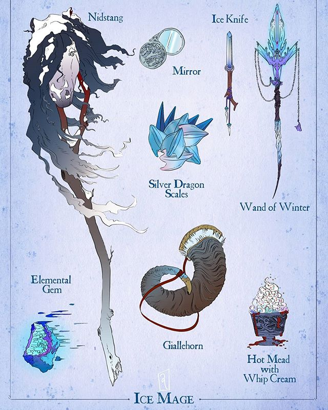 ☃️❄️Winter Tidings to All!❄️☃️ Behold another D&D spread: Ice Mage Tools! Including a Nidstang, Wand of Winter, Ice Knife, Elemental Gem, Gjallehorn, Ice Dragon Scales, Mirror, and a tasty Hot Mead with Whipped Cream :9 Yum~ . . . . . #dnd #dndart #illo #icemage #dungeonsanddragons #artistsofig #tabletoprpg #roleplaying ##criticalrole #critrole #nidstang #nithingpole #gjallehorn #magicalitems #magic #wandofwinter #iceknife #merrychristmas #happyholidays #geekandsundry #winter #icedragon #elementalgem #merrycritmas #tabletop #fanart #propart