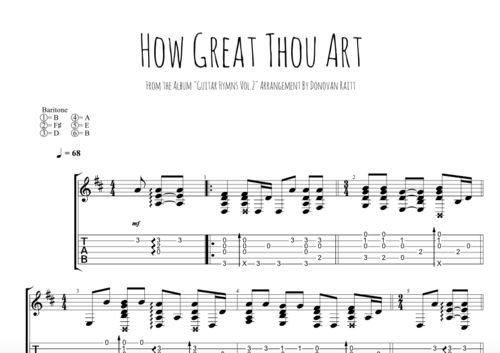 How Great Thou Art - Tab — Donovan Raitt