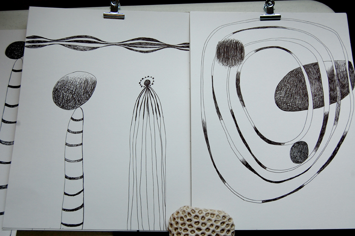 Ink drawings. April 22nd and 14th, 2013. Domino Drawing Project.