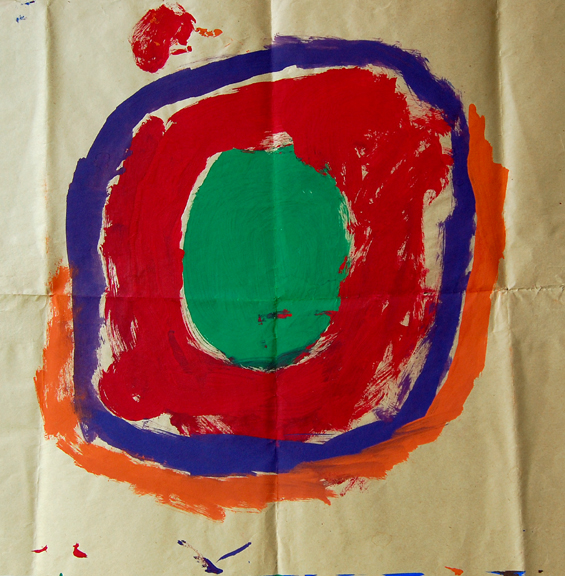 .  Concentric circles. Tempera on newsprint. (c) Teresa Cox  1964