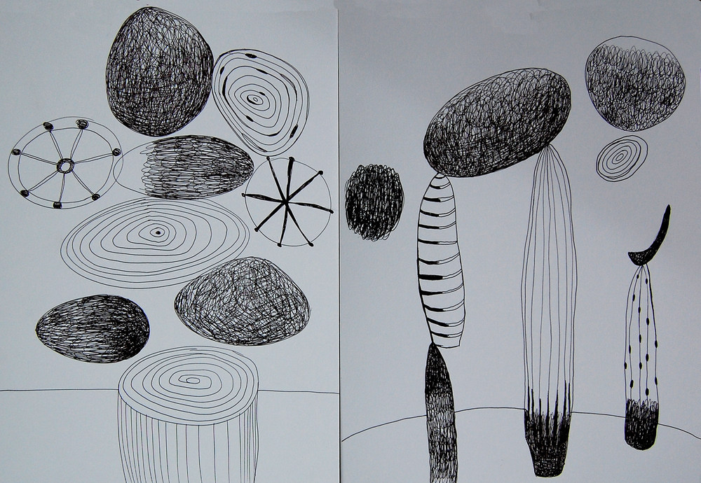 Black ink drawings. Domino Project. (c) Teresa Cox 2013