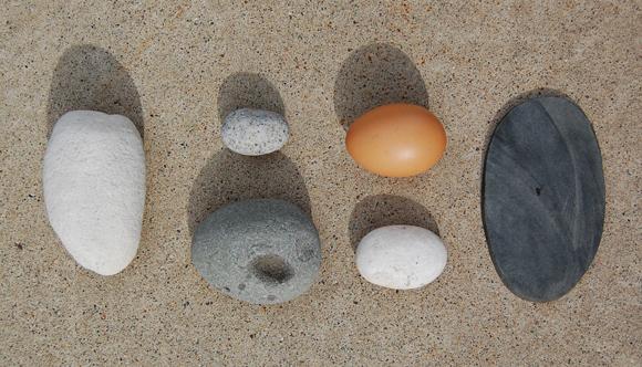 Rocks and egg.