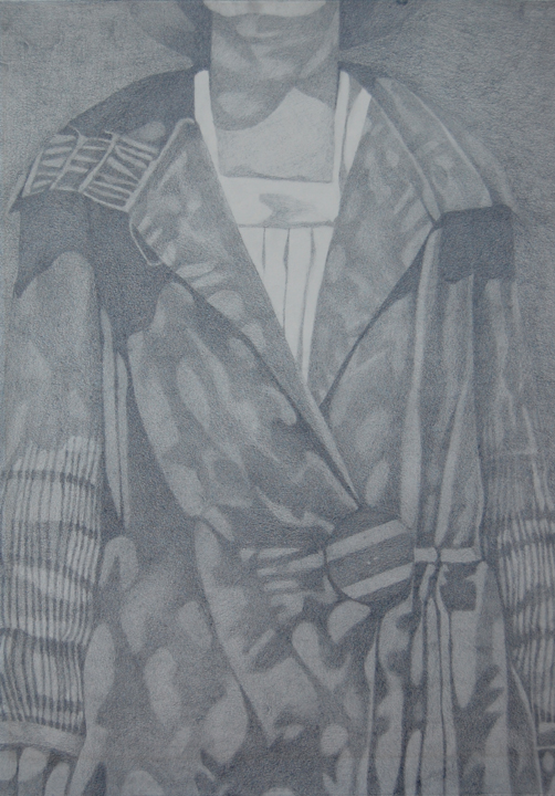 Woman's coat. Graphite 1980.
