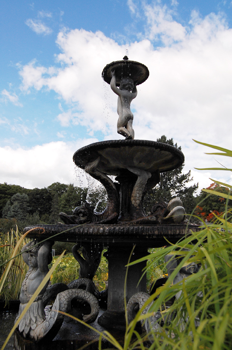 The tireless fountain cherub at the Minnesota Landscape Arboretum