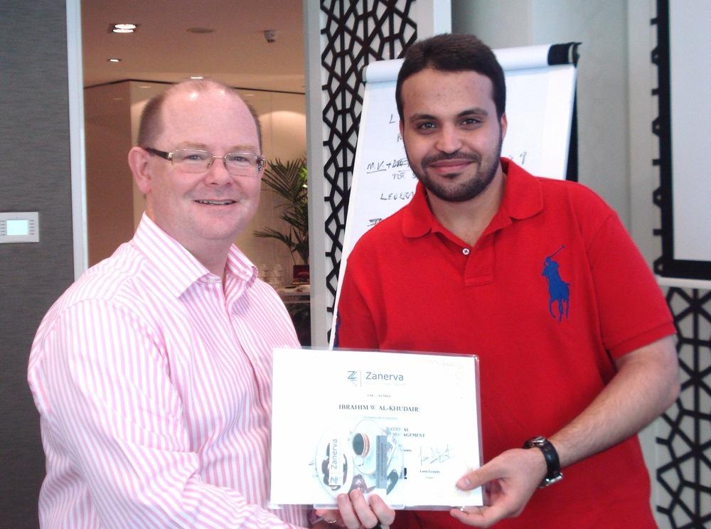 Ibrahim Al-Khudair, Accountant, Cash Management atSahara Petrochemicals receiving his certificate of participation for attending the Advanced Operational Cash Flow & Liquidity Risk Management workshop in Dubai