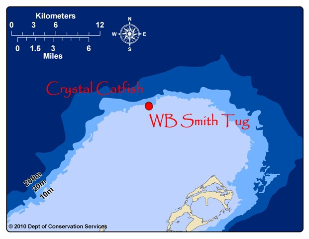WB Smith Tug, located at 32.4747 N, -64.7688 W and the Crystal Catfish, located at 32.4757 N, -64.7694 W.