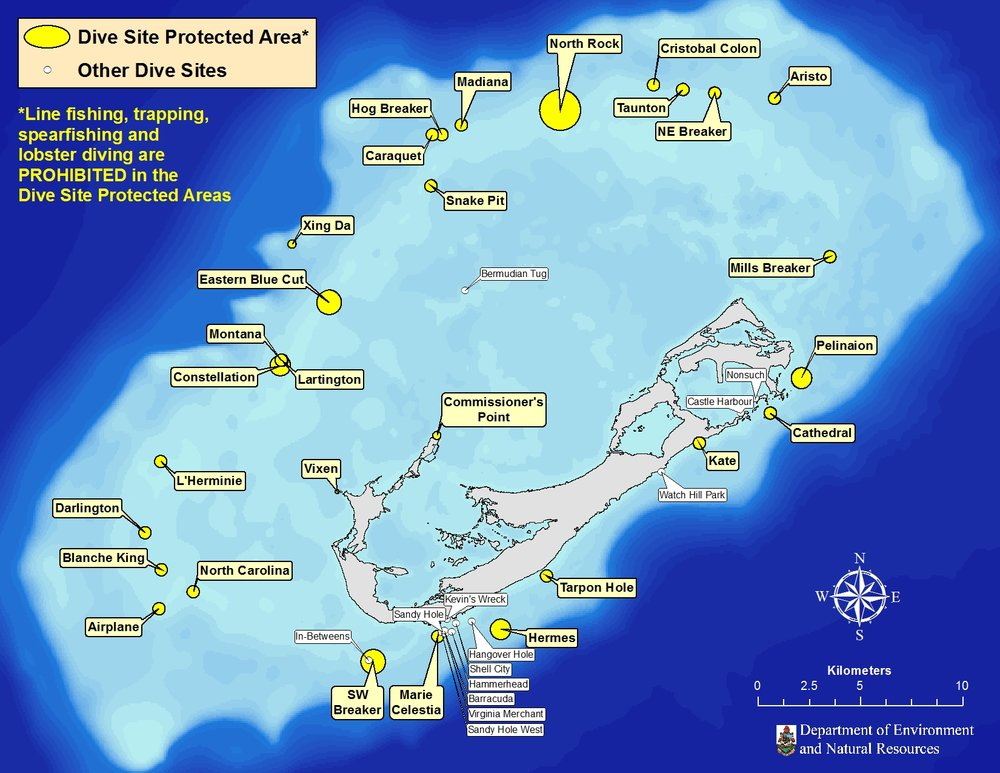 Locations of popular dive sites, including those with protected areas around them.
