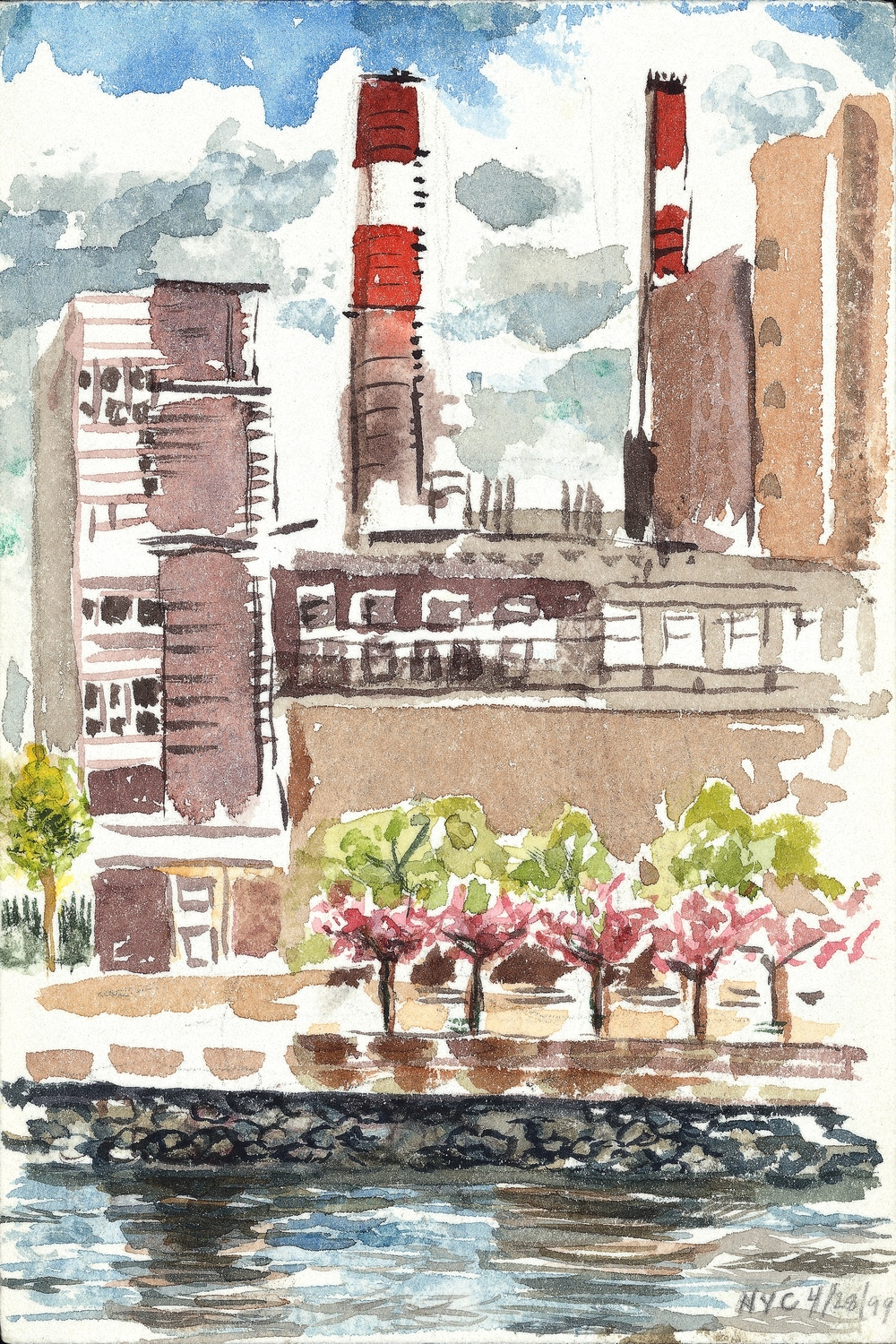EAST RIVER, WATERCOLOR