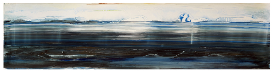 "For W.H. Inland Water , 2014, Ink on yupo paper, 20""x64"""