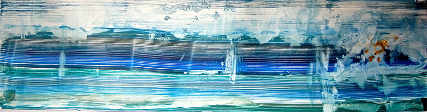 "For K.H. Submerged, 2014   Ink on Yupo Paper, 20"" x 64"""
