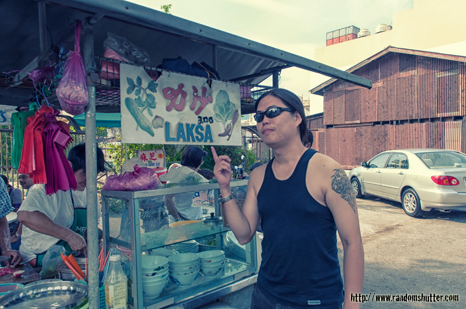 Me posing in front of the laksa stall