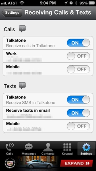 Talkatone Settings